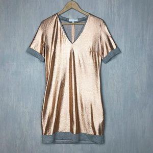 Misha Nonoo rose gold metallic shift dress 4